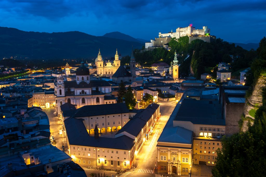 salzburg in the evening