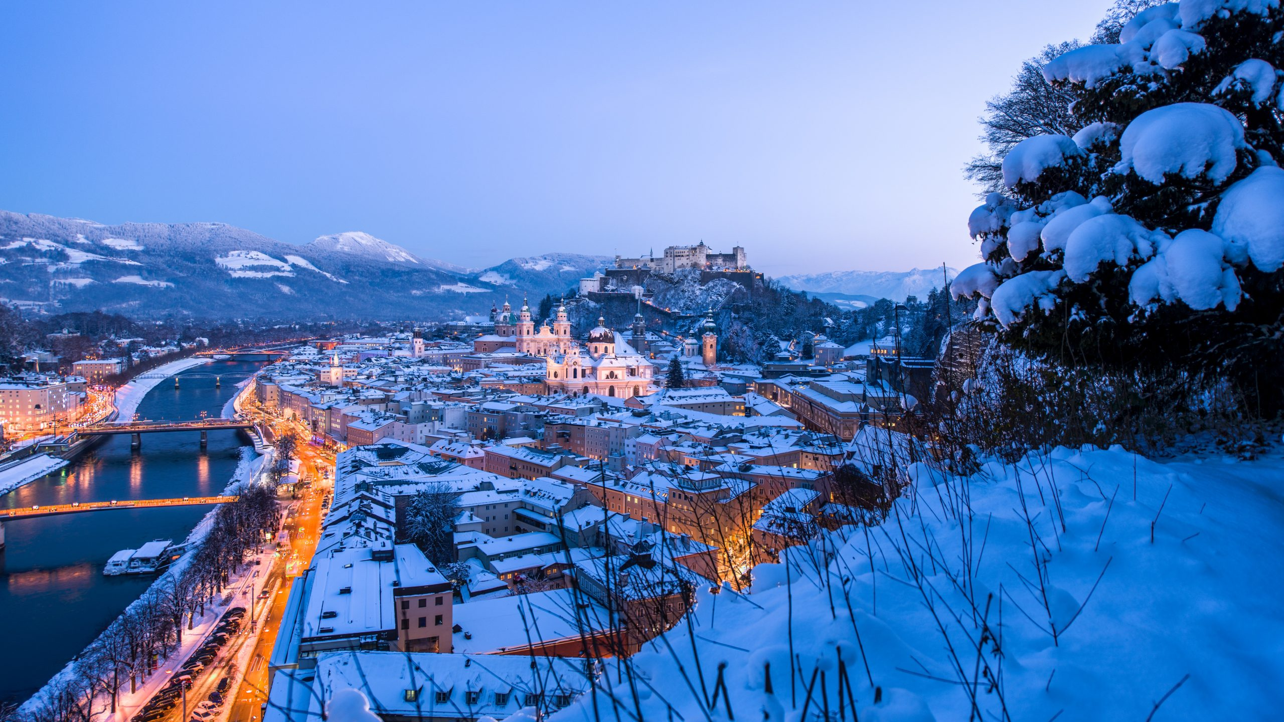 Winter view to the town of Salzburg