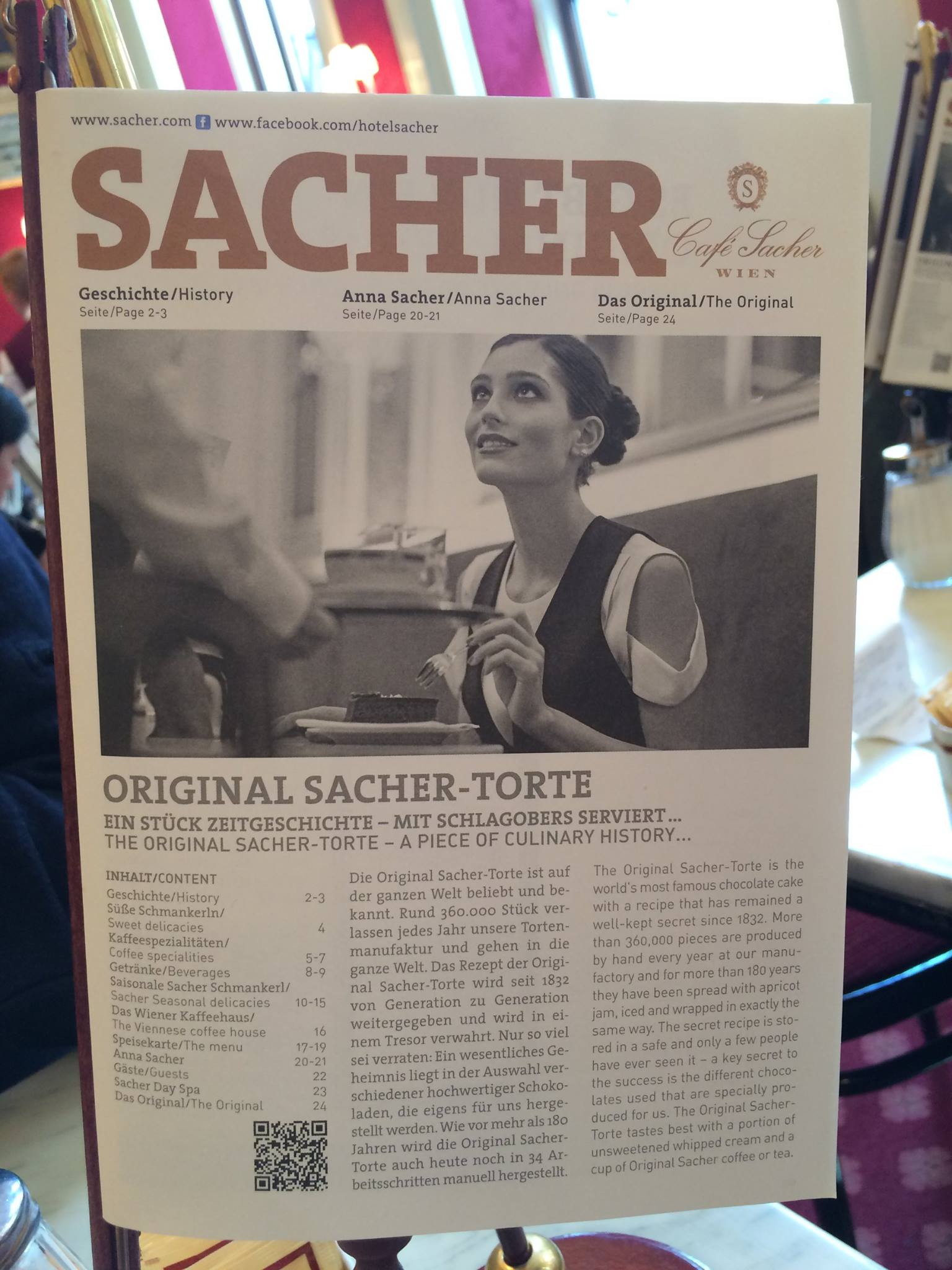 Sacher menu in the cafe