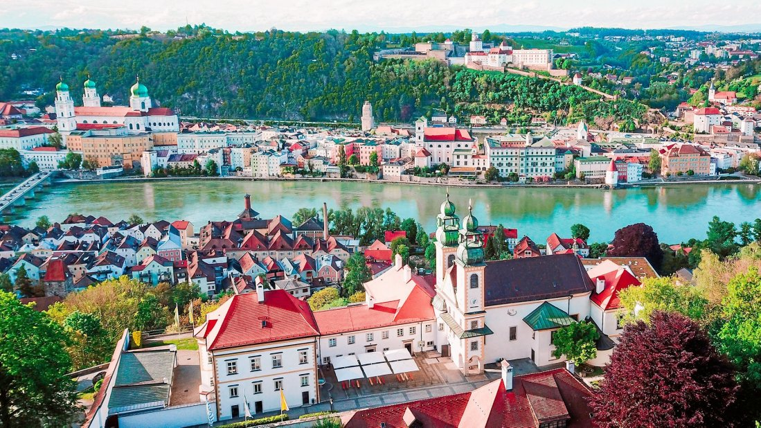 Passau old town with Veste Oberhaus