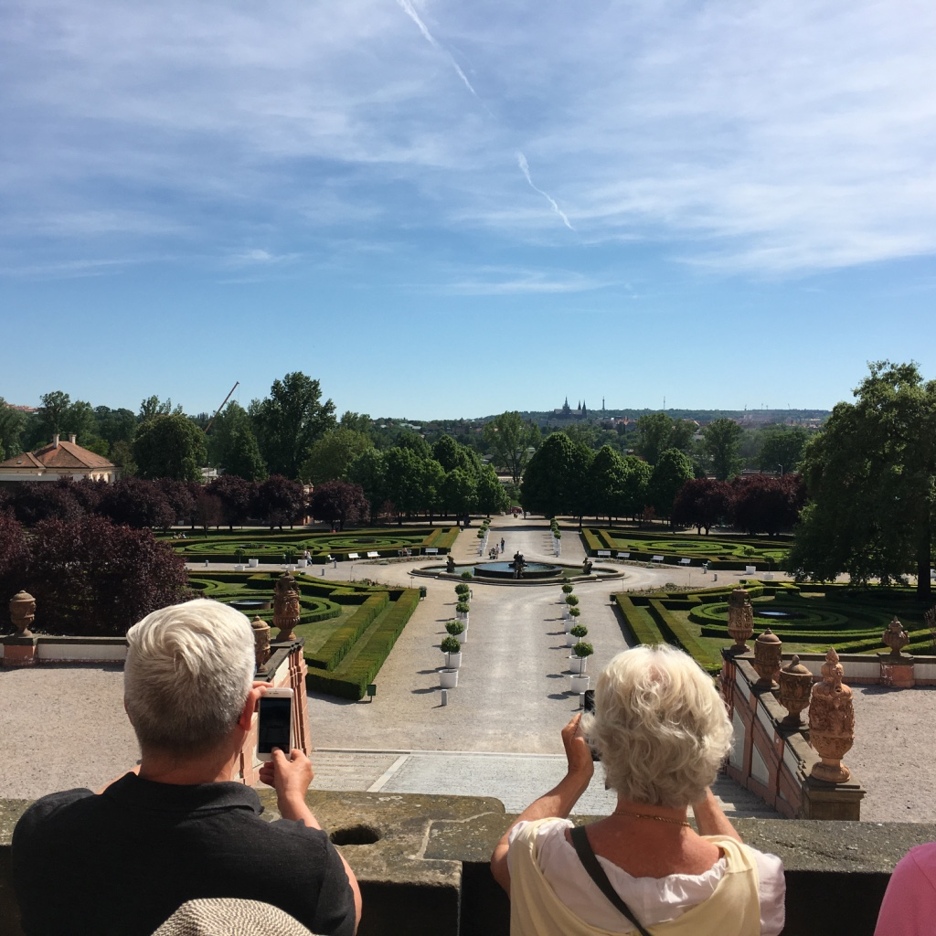 the Garden and view to Prague castle from Troja chateau